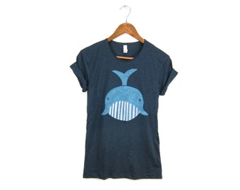 Geo Whale Tee - Boyfriend Fit Scoop Neck T-shirt with Rolled Cuffs in Heather Emerald Green - Women's Size S-3XL