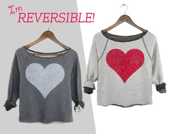Two Sided Heart Sweatshirt - REVERSIBLE Scoop Neck Cropped French Terry Boucle Sweater in Red & Triblend Heather Grey - Women's Free Size