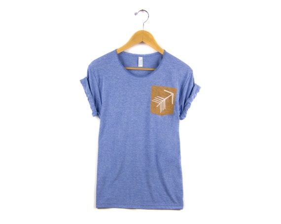 a60444128a6f Tribal Arrow Pocket Tee Boyfriend Fit Scoop Neck Tshirt with | Etsy