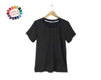 Pinned Cutout Neck Tee - Punk Safety Pin T-shirt, Loose Fit Tshirt, DIY Cut Out Top in Black Heather or Pick a Custom Color - Women's S-3XL