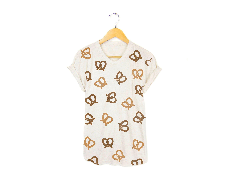 902d6a0780e4 Pretzel Print Tee Boyfriend Fit Crew Neck T-shirt with | Etsy