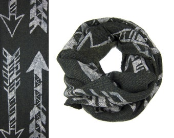 SAMPLE SALE - Tri-Arrows Infinity Scarf - Hand Printed Boucle Knit Sweatshirt Fleece Circle Scarf in Heather Black Olive and Cream Q