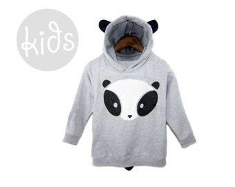Geo Panda Bear Hoodie - Pullover Fleece Hooded Long Sleeve Sweatshirt with Ears and Tail in Heather Grey Black and White - Baby & Toddler