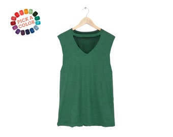 Cutout Wide V-neck Tank - Oversized Muscle Tee, High Neck Tank Top, Swing Tank in Heather Grass Green or Pick a Custom Color - Women's S-3XL