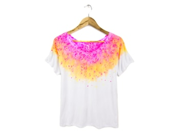 """Acid Pink Tee - Original """"Splash Dyed"""" Hand Painted Relaxed Fit Flowy Scoop Neck T-shirt in White - Women's S-2XL"""