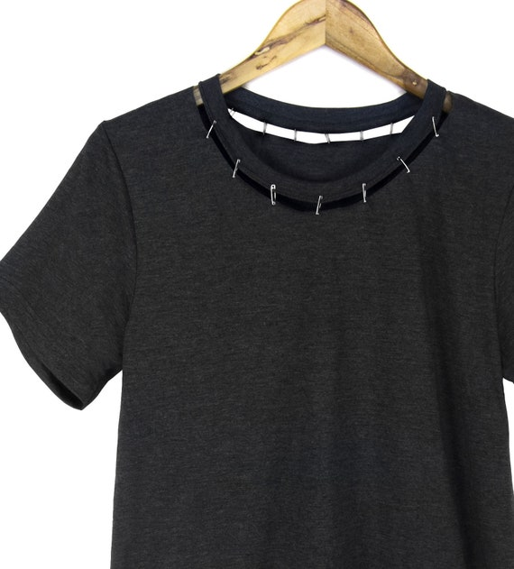 Pinned Cutout Neck Tee Punk Safety Pin T shirt, Loose Fit Tshirt, DIY Cut Out Top in Black Heather or Pick a Custom Color Women's S 3XL