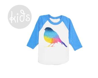 Rainbow Robin Raglan Tee - 3/4 Sleeve Crew Neck Baseball Tshirt in Heather Blue Rainbow Brite - Baby Kids & Youth Sizes