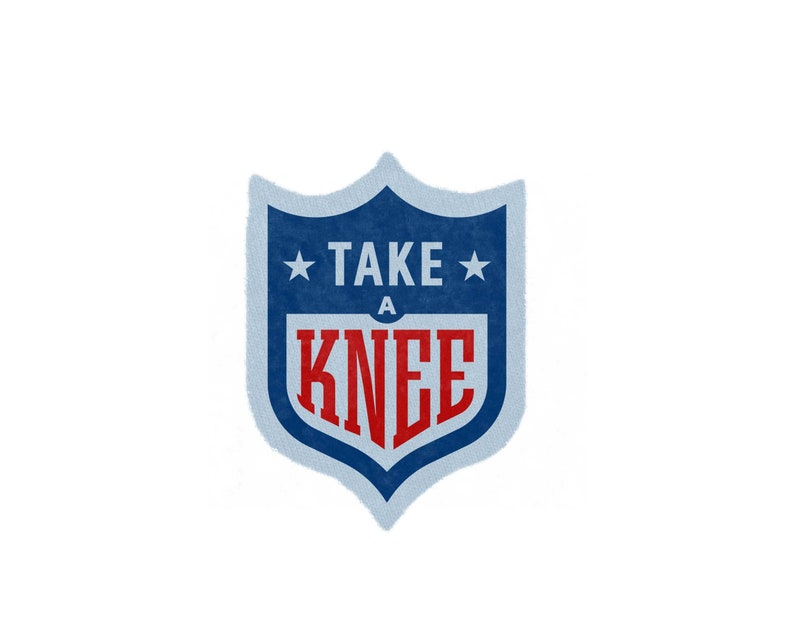Take a Knee Patch - #takeaknee Patch, Hand Printed Sew On #imwithkap Patch  in Red Blue and White