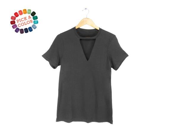 Ausschnitt tiefer V-Ausschnitt T-Shirt Halsband-t-Shirt   Etsy 060898e60c