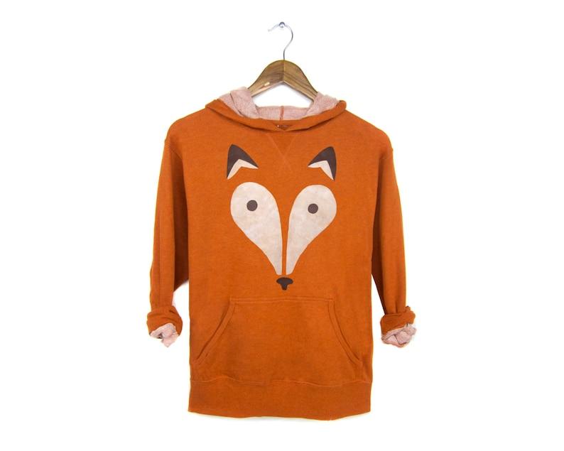 Women/'s Size S-XL French Terry Jumper in Burnt Orange Heather Geo Fox Hoodie Hooded Sweatshirt Midweight Pullover