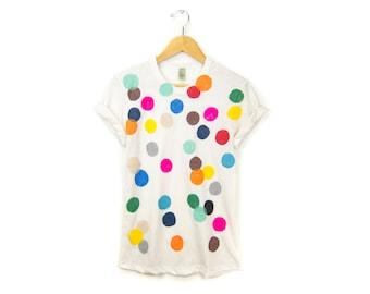 Colorful Confetti Tee - Boyfriend Fit Crew Neck Rolled Cuffs Tshirt in Cream Multi Rainbow - Women's size S-3XL