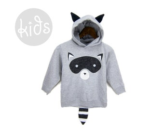 Geo Raccoon Hoodie - Pullover Fleece Hooded Long Sleeve Sweatshirt with Ears and Striped Tail in Heather Grey - Baby & Toddler