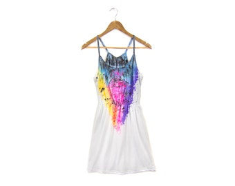 "SAMPLE SALE Spectrum Rainbow Dress - Original ""Splash Dyed"" Scoop Neck Spaghetti Strap Mini Tunic Tee Dress in White - Women's Size M"