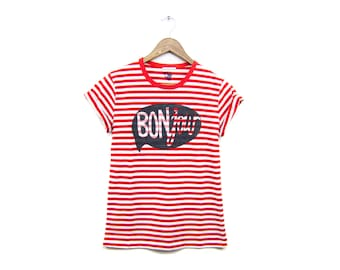 BONjour Tee - Boyfriend Fit Crew Neck Striped T-Shirt with Rolled Cuffs in Custom Red and White Stripe - Women's Size XS-3XL