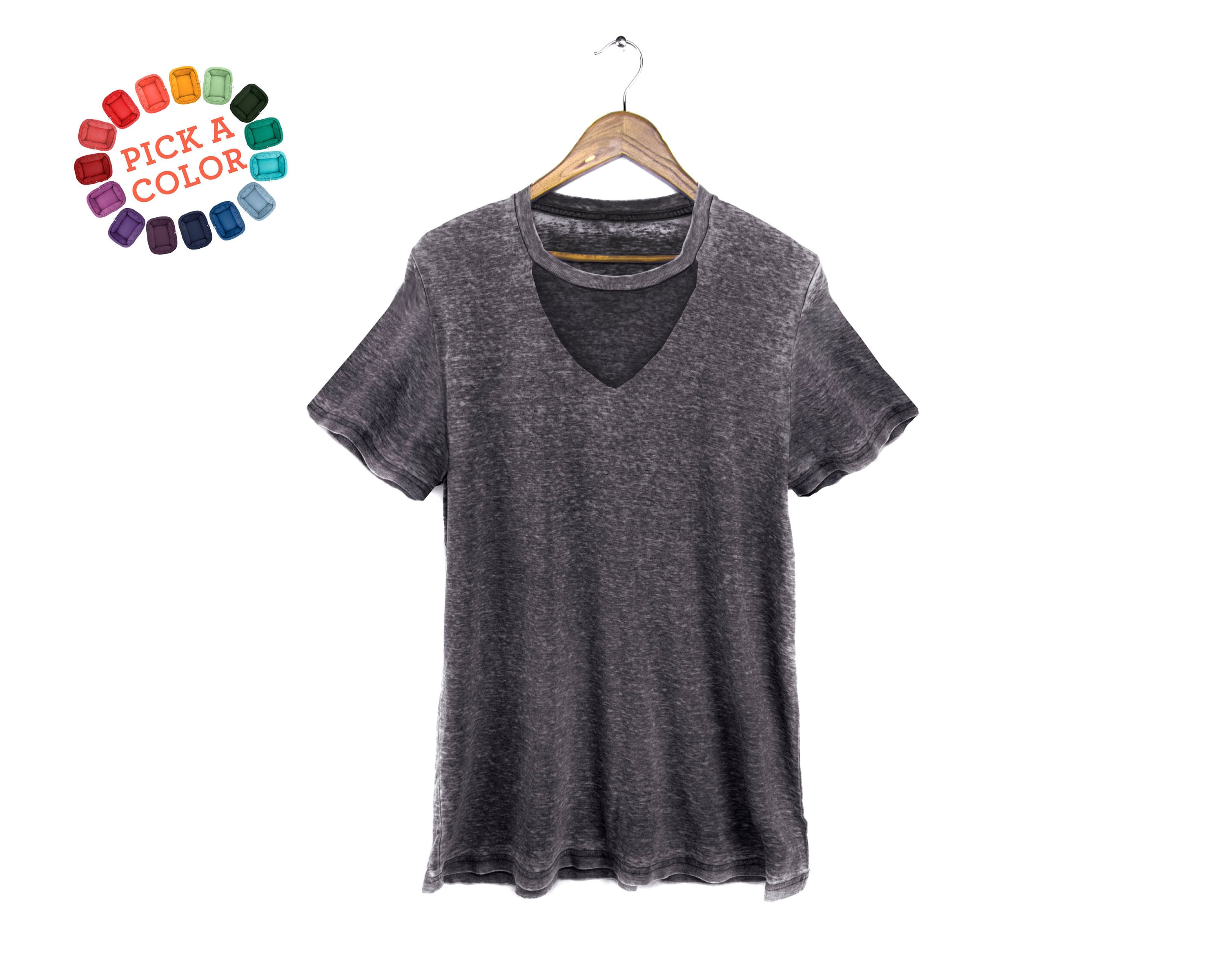 Cutout Wide V Neck Tee Choker T shirt, Loose Fit Tshirt, Keyhole Top in Grey Burnout or Pick a Custom Color Women's Size S 2XL