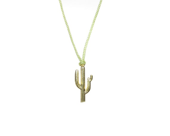 Sterling Silver Womens 1mm Saguaro Cactus Pendant Necklace