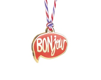 "BONjour Pendant - Enamel Necklace with 28"" Twisted Cotton Cord - Ruby Red with Red White and Blue Rope"