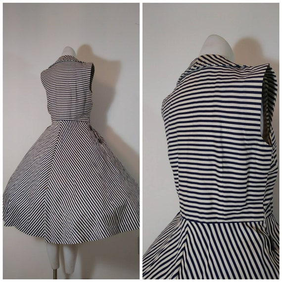 Vintage 50s circle skirt dress / 50s stripes dres… - image 7