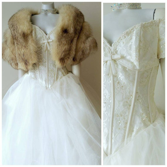 Vintage wedding dress / lace pearls sequins / tull