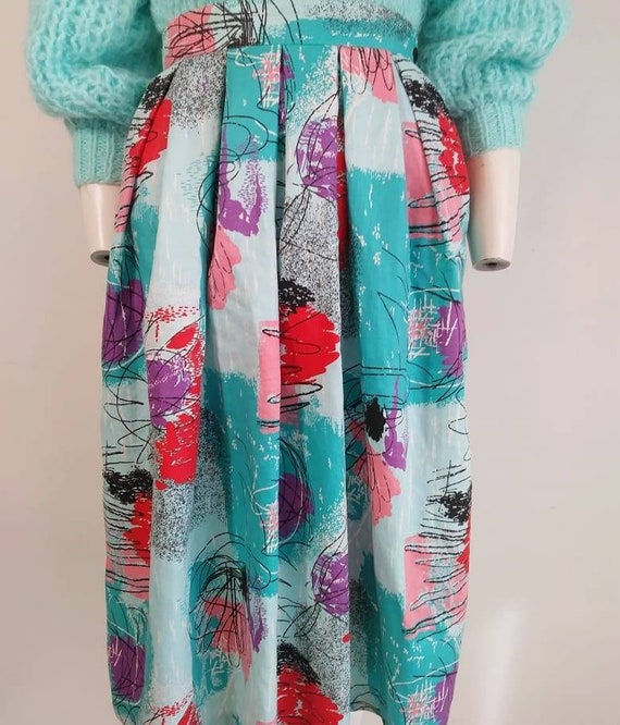 50s style cotton skirt / 80s abstract skirt / Roc… - image 5