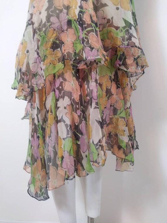 1920s 20s silk chiffon dress / 20s sheer floral d… - image 3