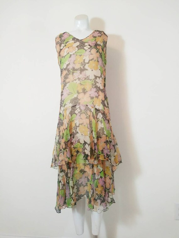1920s 20s silk chiffon dress / 20s sheer floral d… - image 4