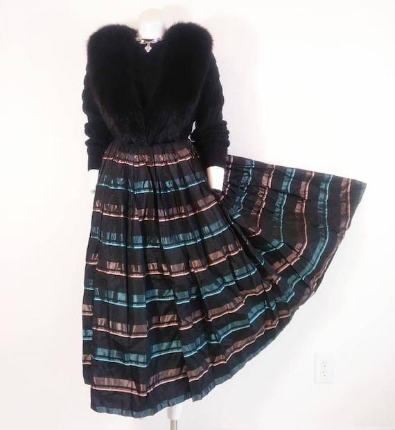 Vintage 50s striped skirt / 50s pleated skirt / 5… - image 2