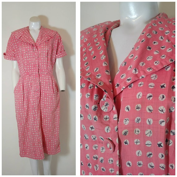 Vintage 40s cotton dress / 40s house dress / 40s p