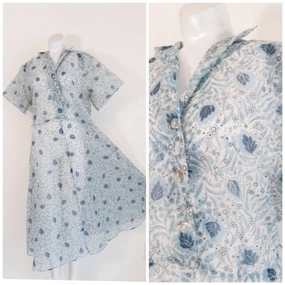 40s 50s sheer leaf print dress / 50s blue dress /