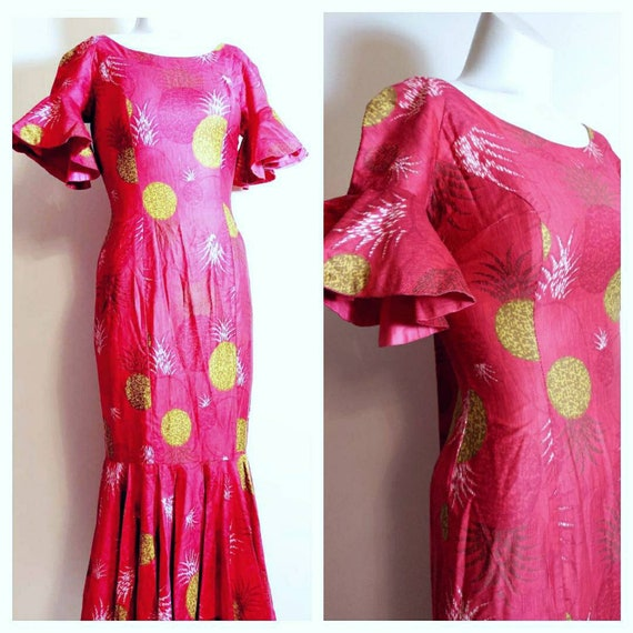 vintage 50s 60s Royal Hawaiian dress / hostess dre