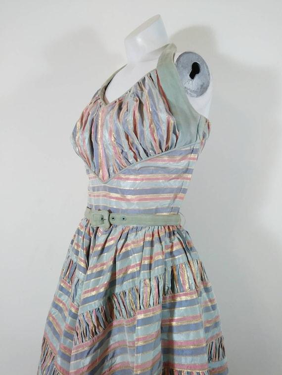 Vintage 50s cotton candy halter dress / 50s party… - image 2