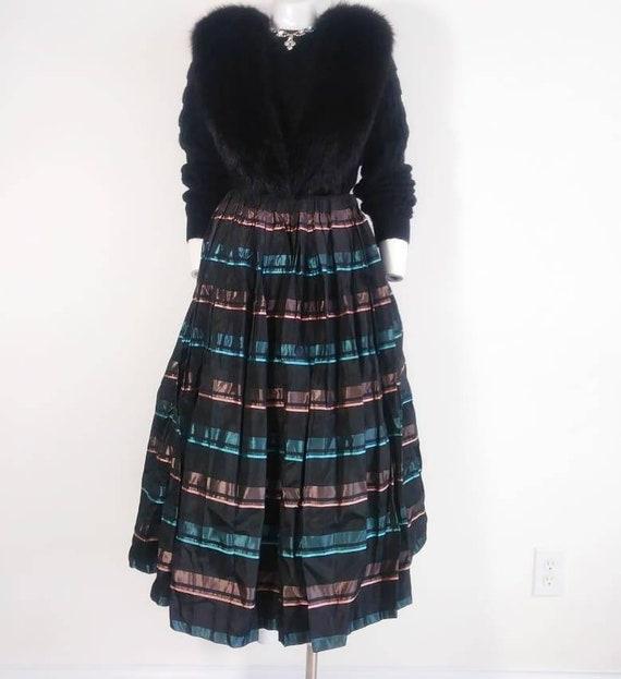 Vintage 50s striped skirt / 50s pleated skirt / 5… - image 4