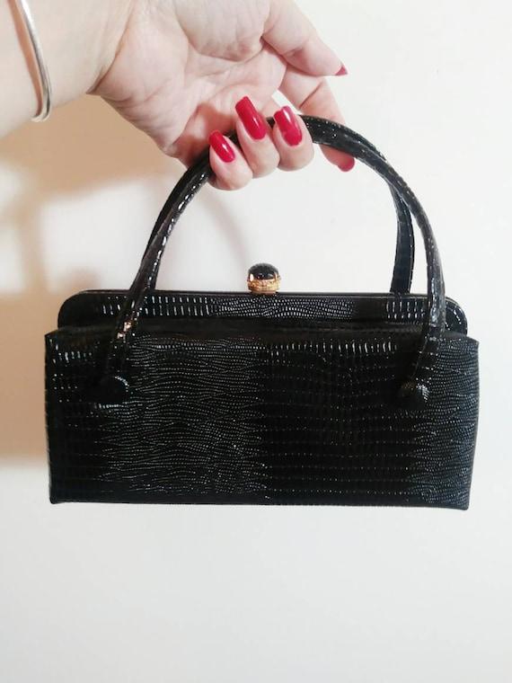 Vintage 40s 50s reptile purse / 50s hand bag purse