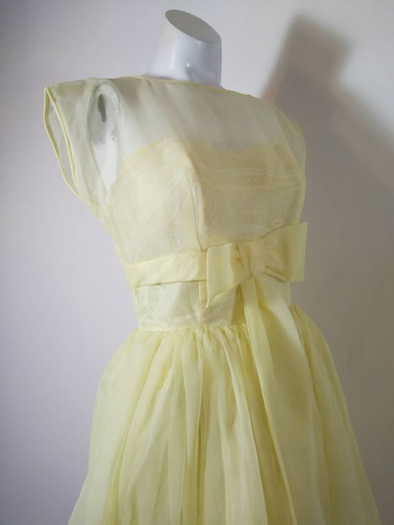Vintage 50s party dress / 50s yellow dress / 50s … - image 3