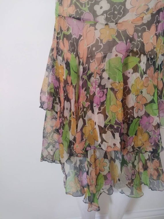 1920s 20s silk chiffon dress / 20s sheer floral d… - image 7