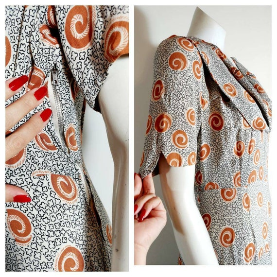 Vintage 40s rayon dress / 40s novelty print dress… - image 5