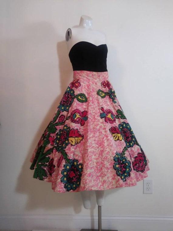 50s novelty print skirt / 50s full circle skirt /… - image 2