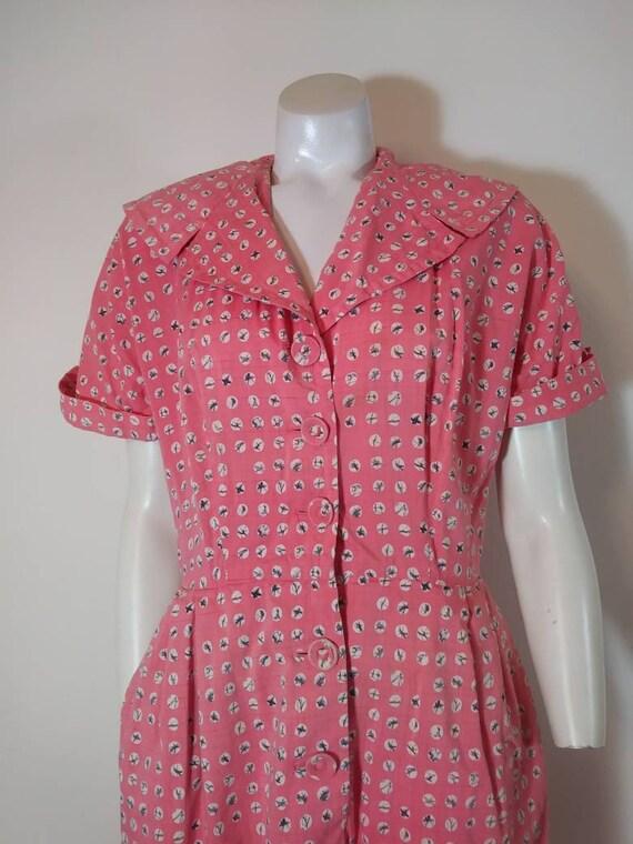 Vintage 40s cotton dress / 40s house dress / 40s … - image 5
