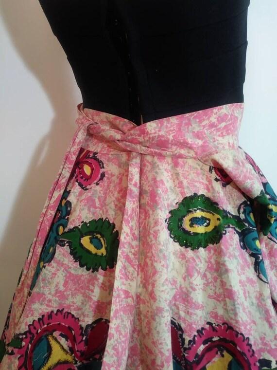 50s novelty print skirt / 50s full circle skirt /… - image 7