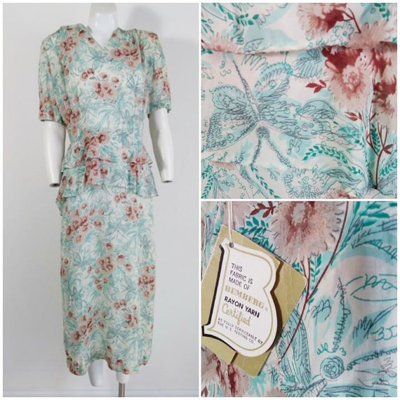 Vintage 40s peplum dress / 40s rayon butterfly flo