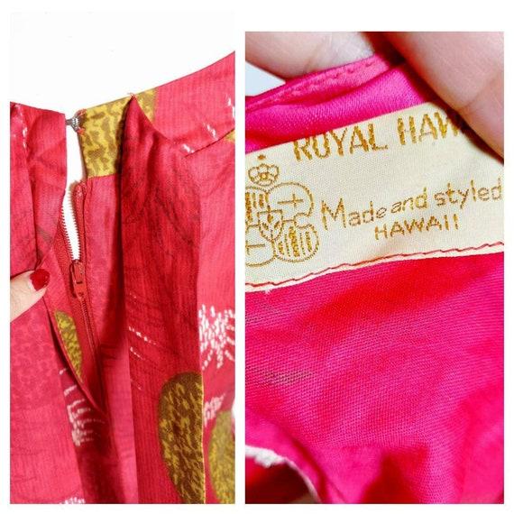 vintage 50s 60s Royal Hawaiian dress / hostess dr… - image 10