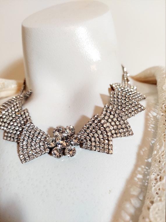 Vintage 50s Rhinestone Necklace / Hollywood Glam /