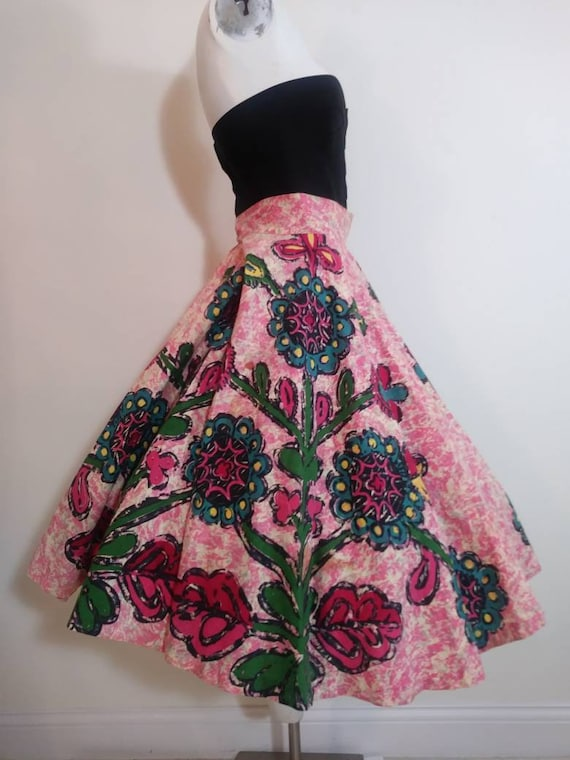 50s novelty print skirt / 50s full circle skirt /