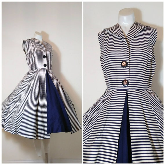 Vintage 50s circle skirt dress / 50s stripes dres… - image 1