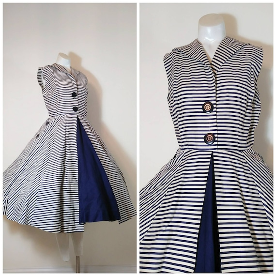 Vintage 50s circle skirt dress / 50s stripes dress