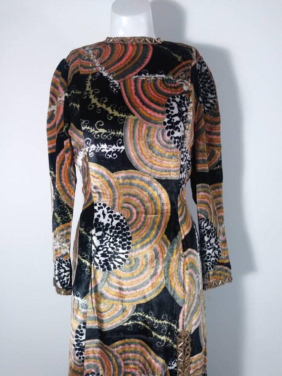 Vintage 60s velvet psychedelic cult dress / 60s m… - image 3