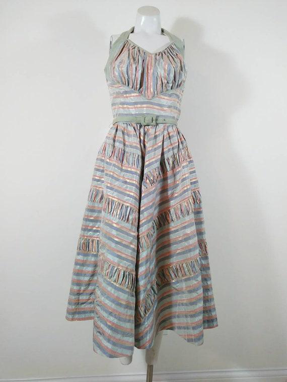 Vintage 50s cotton candy halter dress / 50s party… - image 3