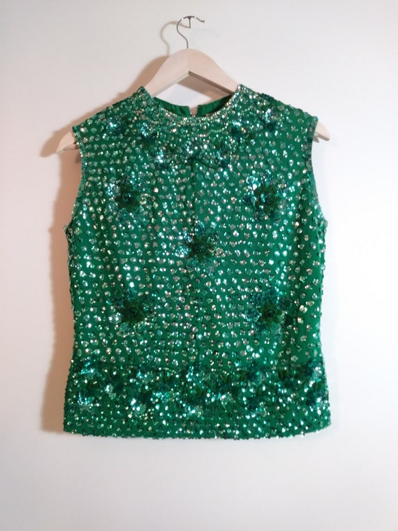 50s sequin blouse / 50s Beaded Top / 50s Hollywood