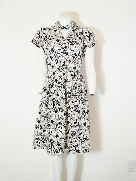 Vintage 50s abstract dress / 50s black and white … - image 2