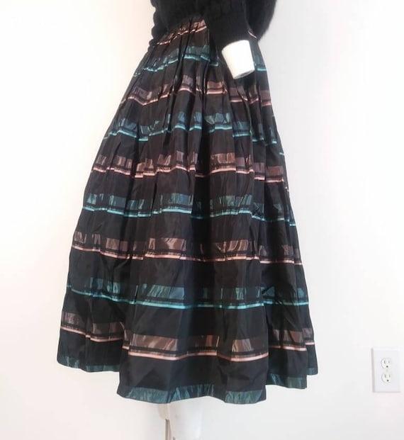 Vintage 50s striped skirt / 50s pleated skirt / 5… - image 7